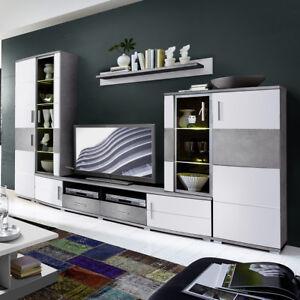 wohnwand jam anbauwand mit led wohnzimmer wei hochglanz und betonoptik ebay. Black Bedroom Furniture Sets. Home Design Ideas