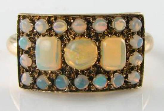 LUSh 9K 9CT gold ALL AUS OPAL CLUSTER ETERNITY ART DECO INS RING FREE RESIZE