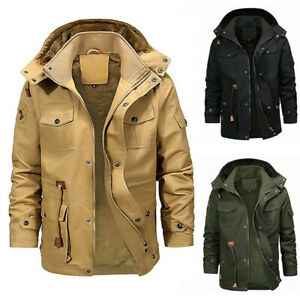 Mens-Winter-Warm-Hooded-Jacket-Fleece-Lined-Coat-Zip-Lining-Thick-Coat-Parka-N-Y