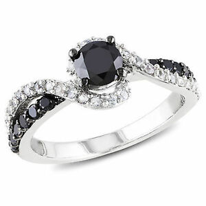 Sterling-Silver-3-4-Ct-TDW-Black-Diamond-and-1-3-CT-TGW-White-Sapphire-Ring
