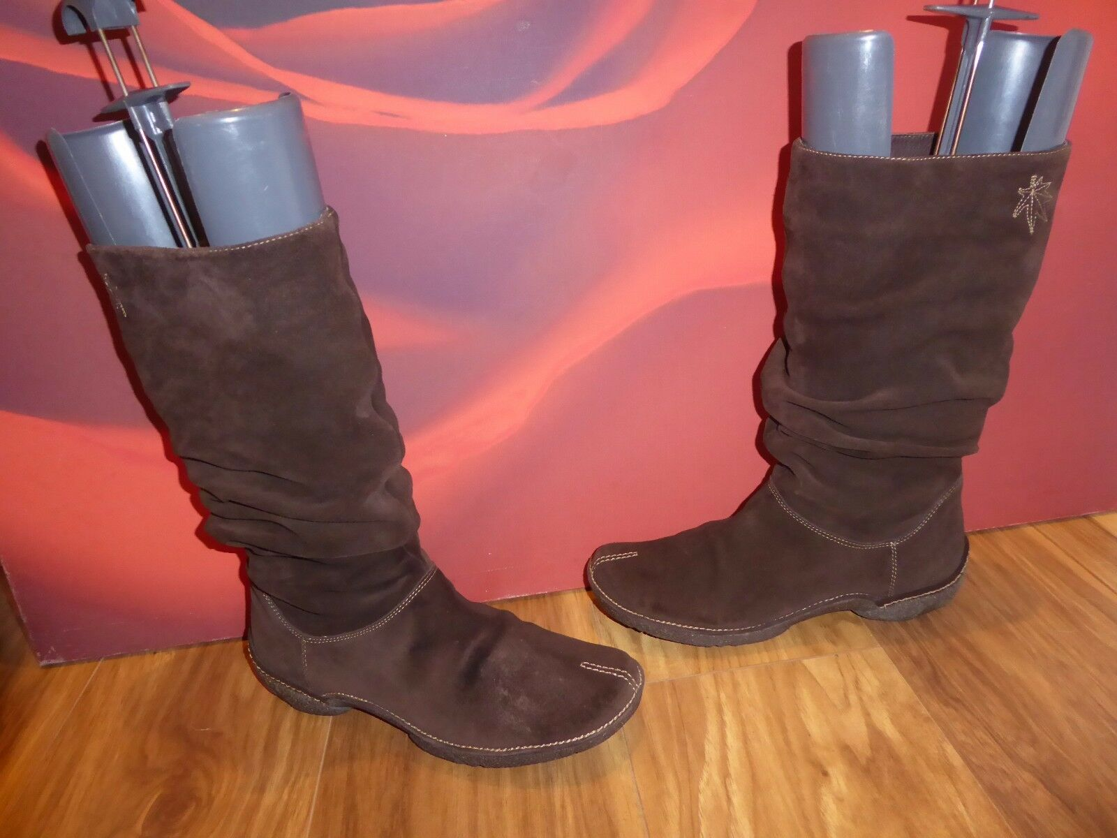 4 SUPERB  CLARKS BROWN LEATHER SUEDE  WEDGE SLOUCH  BOOTS UK 7 D   8 EU 41