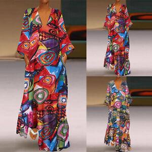 ZANZEA-Femme-Robe-Impression-Poches-Manche-Longue-Party-Col-V-Ample-Dresse-Plus