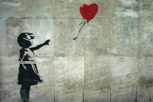 Banksy Girl with Heart Balloon 24x36 Poster Famous London Urban Graffiti Art