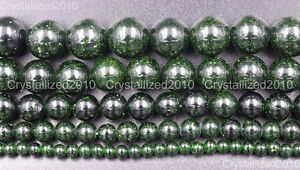 Natural-Green-Sand-Gemstone-Round-Ball-Loose-Beads-4mm-6mm-8mm-10mm-12mm-15-5-034