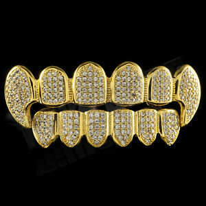 18K-Gold-Plated-CZ-Vampire-Dracula-Fangs-Top-Bottom-GRILLZ-Mouth-Teeth-Grills