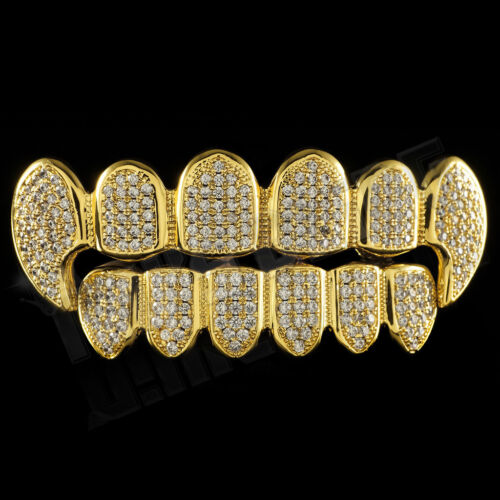 18K Gold Plated CZ Vampire Dracula Fangs Top Bottom GRILLZ Mouth Teeth Grills