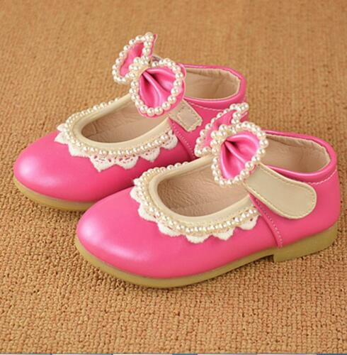 New Girls Baby Toddler Kids Princess Lace Bow Party Formal Flat Shoes1-0q