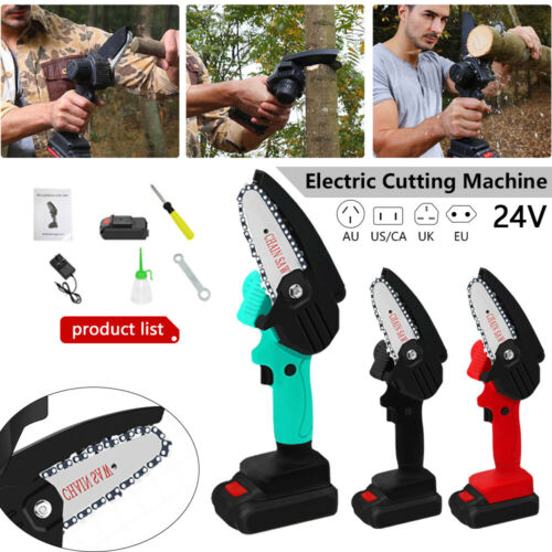 Mini One-Hand Chainsaw Woodworking Electric Rechargeable Wood Cutter Tool 550W