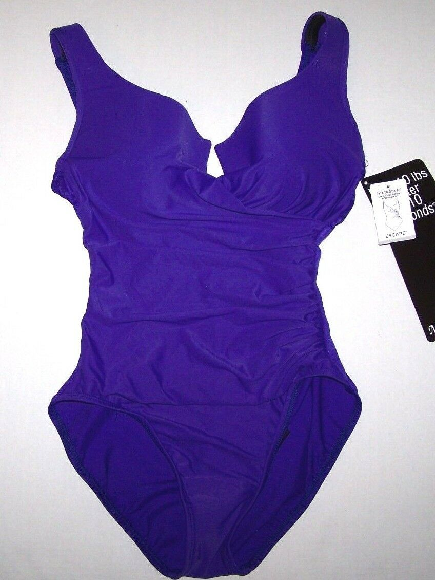 Nwt New Miraclesuit Escape 1-Piece Swimsuit Slimming 10 lbs Purple  156 Women