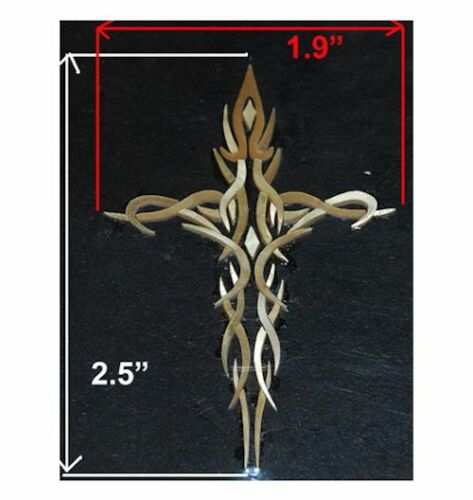 PH24# Tribal Cross Inlay in Gold Mother of Pearl 1.5mm thickness