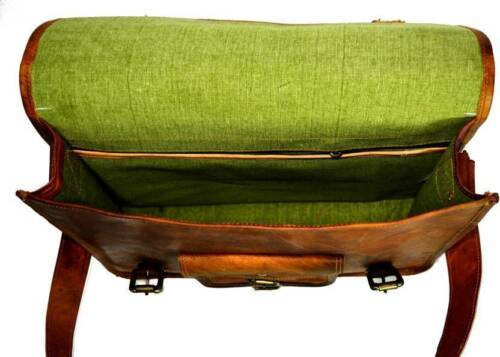 Hand Made Brown Leather Vintage Laptop Briefcase Messenger bag Business Case