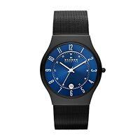 SKAGEN T233XLTMN GRENEN Slimline Herrenuhr Titan Schwarz Milanaise Armband Datum