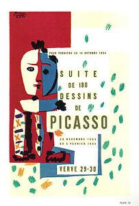 PABLO-PICASSO-1964-LITHOGRAPH-w-COA-VERVE-1954-edition-29-30-promo-Rare-Art