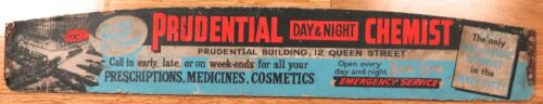 .SUPER RARE c1950s BRISBANE TRAM ADVERTISING BOARD PRUDENTIAL DAY& NIGHT CHEMIST