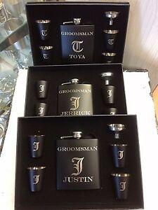 22ae8f1f8bf7 Image is loading 3-Personalized-Engraved-Custom-Hip-Flask-Sets-Groomsmen-