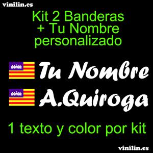 Pegatina Vinilo Bandera Baleares + Nombre Personalizado