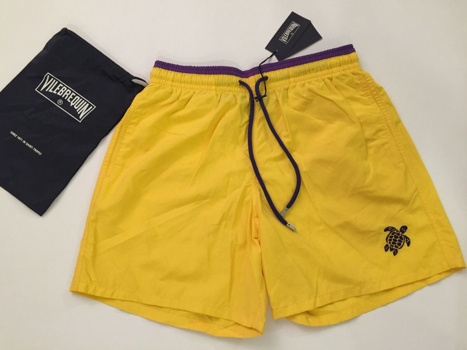 New w Tags & Bag Authentic Vilebrequin Moka Swim Trunks Yellow for Men XL