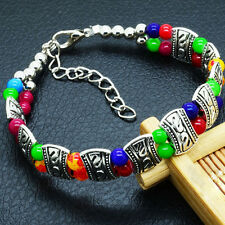 Elegant High Quality New Tibet Silver Multicolor Jade Turquoise Bead Bracelet TY