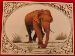 Hand-Painted-Carved-Elephant-Miniature-Painting-India-on-Synthetic-Art-Ivory