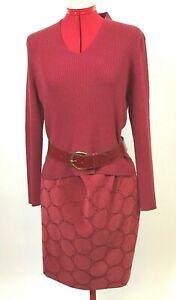 Coldwater-Creek-Red-MEDIUM-Long-Sleeve-V-Neck-Knit-Shirt-AND-Sz-8-Skirt-w-Belt