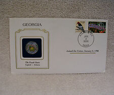 Georgia Colorized State Quarter Cover w/ Greetings From America Stamp - Painted