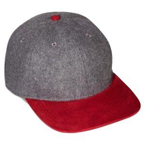 OC Headwear Men s Wool Blend Flat Visor Hat Grey Red Baseball Cap ... 913f2aac850