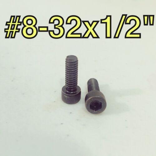"""Qty 50 8-32x1//2/"""" Allen Socket Head Cap Screw Black Oxide Steel Alloy"""