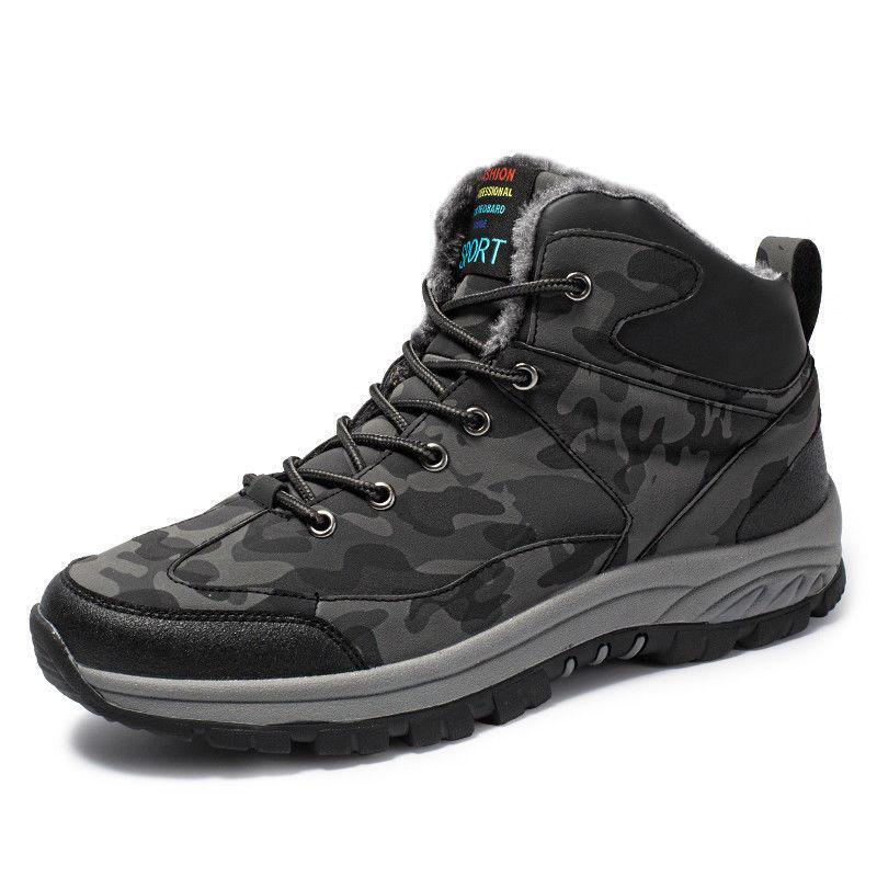 Mens Warm Hiking shoes Winter Outdoor Trail Waterproof Camouflage shoes Punk New