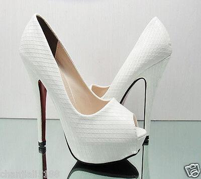 (Hot) white Evening Party Queen Open Toes Super Platform Wedding High Heels