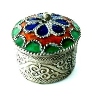 Vintage Hand Crafted Pill Snuff Box Round Enameled Flower Lid Metal Untested