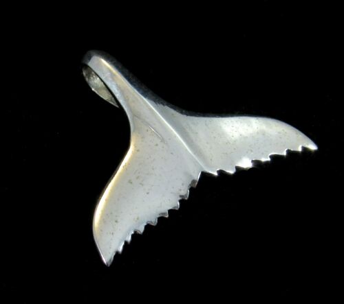Large Handcrafted Solid 925 Sterling Silver WHALE TAIL Marine Sea Slide Pendant