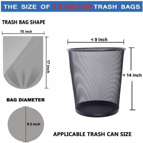 120 count 1.2 Gallon Clear Small Trash Bags Bathroom Garbage Bags