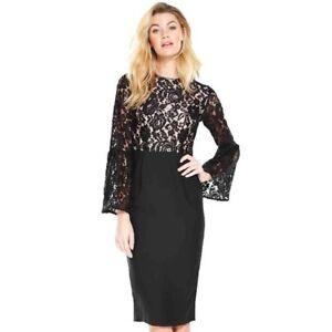 Bnwt £70 Top Black Midi 16 Uk Dress Very V Lace By Rrp rngAxrwRqZ