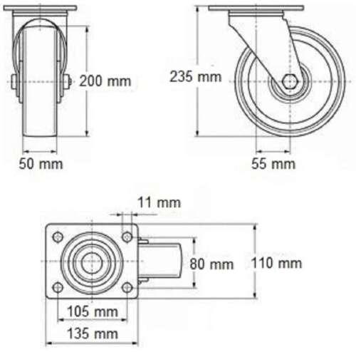 200 mm SL Möbelrollen Lenkrollen Blue Wheel Transportrollen Möbel Rollen 2 St