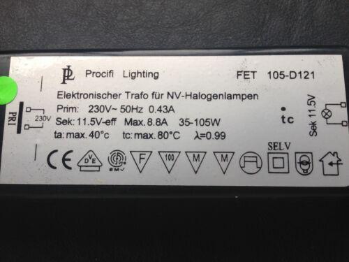 105 Watt Elektronischer Transformator//für Halogenleuchten FET 105-D121