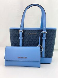 NWT-Michael-Kors-Jet-Set-Travel-XS-Tote-Satchel-Bag-Triford-Wallet-French-Blue