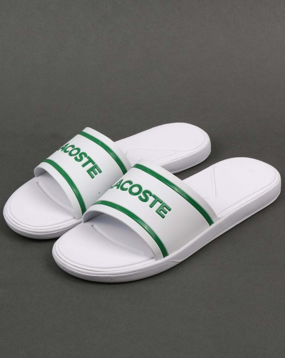 Lacoste L.30 Slides in - Blanco & Verde - in flip flop sandals pool Zapatos beach 8a2d9a