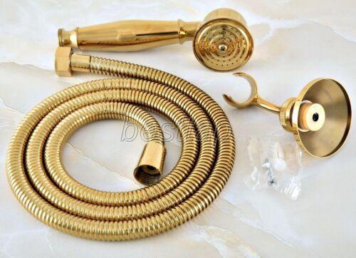Gold Color Brass Bathroom Hand-held Shower Head Wall Bracket Shower Hose shh044