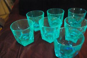 Lot-of-7-Hazel-Atlas-Capri-Gothic-blue-old-fashioned-rocks-glasses