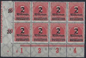 MiNr. 312Aa im Achterblock mit HAN 5515.23 und PlNr. 4/4 aus Ecke 3 postfrisch