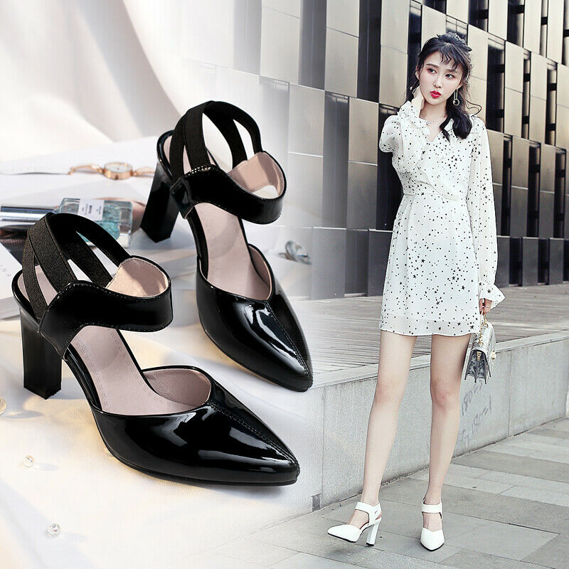 Thick heel sandals women's vogue shiny leather shoes pumps pointed toe slingback
