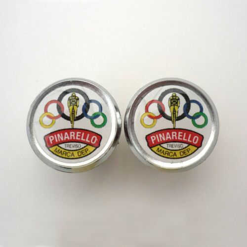 Repro Vintage Style Pinarello Olympic Chrome Racing Bar Plugs Caps