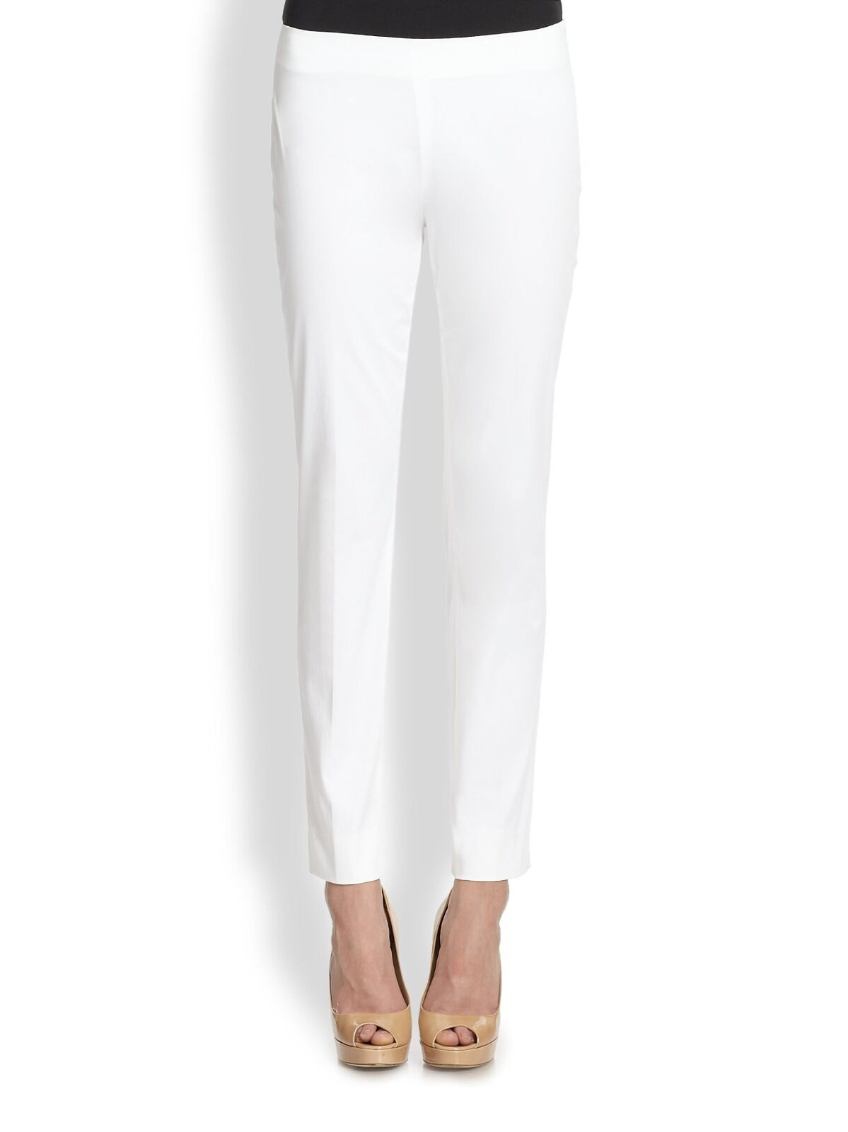 Elie Tahari White Jillian Flat Front Slim Elegant Dress Pants. NWT Sz.6