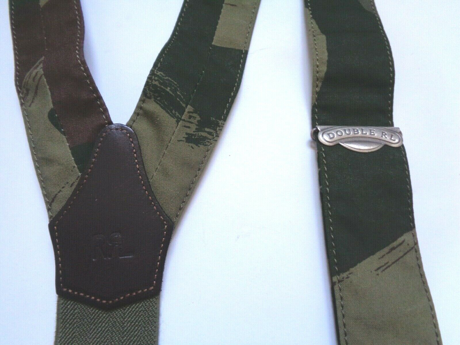 Ralph Lauren RRL Camo Stretch Cotton Leather Braces Suspenders New $225