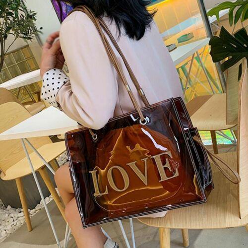 Fashion Large-Capacity Handbag Women/'s Work Bag Red Brown Shoulder Bag Clear New