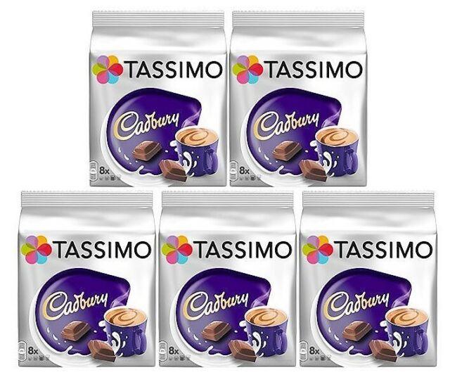 5 X Paquets Tassimo Cadbury Chocolat Chaud T Disques Dosettes 40 40 Grand Drinks