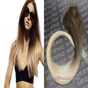Ombre Remy Tape In Skin Weft Human Hair Extensions Medium Brown
