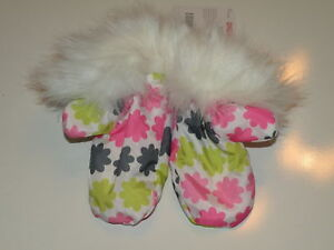 GYMBOREE SNOW SPORTS FLOWER FUR TRIM PUFFER MITTENS 0 12 24 2T 3T 4T 5T NWT