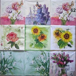 4 servietten blumen fr hling sommer sonnenblume tulpe schneegl ckchen ebay. Black Bedroom Furniture Sets. Home Design Ideas