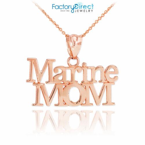 10k Or Rose Marine maman collier pendentif